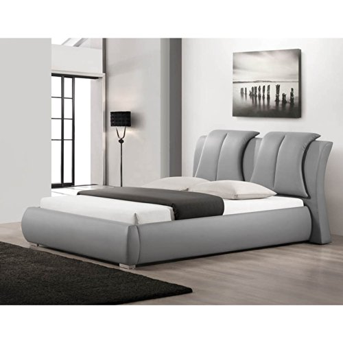 Contemporary Not Upholstered Metal (Baxton Studio CF8269-QUEEN-GREY Malloy Modern Bed with Upholstered Headboard, Queen,)