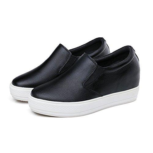 Womens Platform Loafers Sneaker Flat Waterproof Casual Running Shoes Black