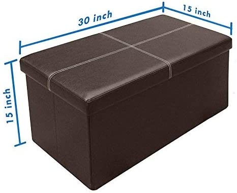 Black, Faux Leather Foot Rest Stool,Hold Up to 200 LB,15X15X15 Storage Ottoman Cube(2-Pack) Folding Storage Box Chest with Lids,Memory Foam Seat Tufted Faux Leather Trunk,Bedroom Ottomans Cube