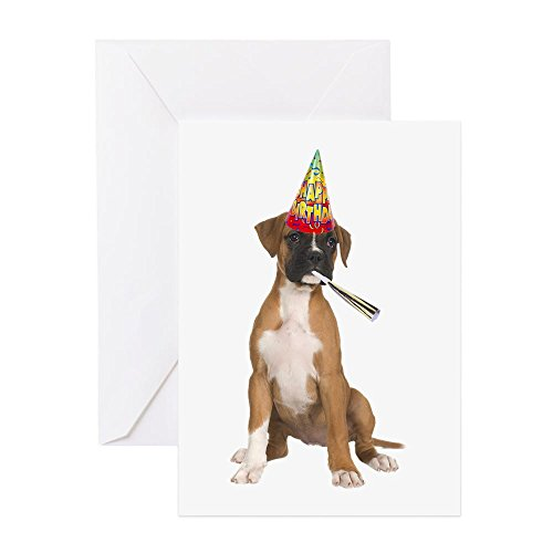 CafePress Boxer Birthday Card Greeting Card, Note Card, Birthday Card, Blank Inside Glossy Boxer Dog Note Card
