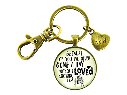 Dad Key Chain Because of You I've Never Gone a Day Without Knowing I am Loved