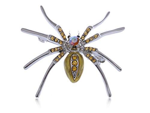 Alilang Topaz Czech Crystal Rhinestone Brown Belly Spider Fashion Pin Brooch