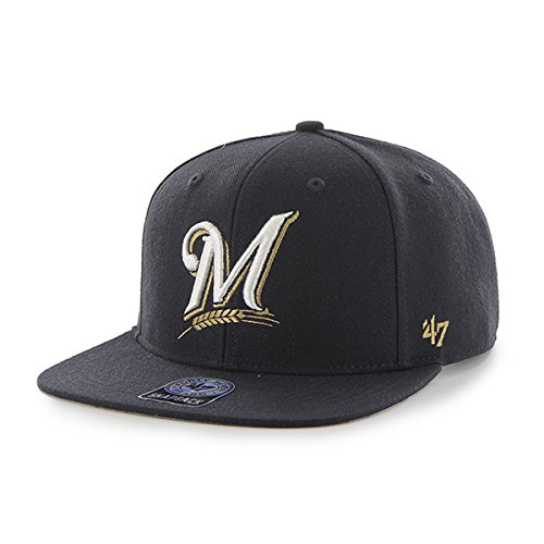 Milwaukee Brewers MLB Navy Sure Shot 47 Brand Flat Bill Snapback Hat