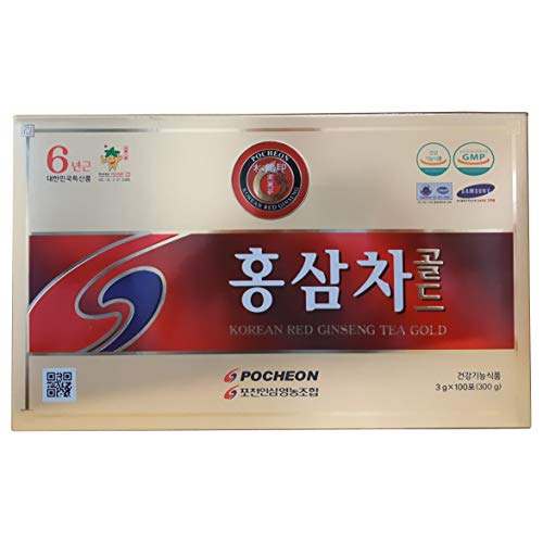 Pocheon 300g(3g x 100p) Korean Panax Red Ginseng Roots Extract Tea Gold 6Years, 15% Extract (Best Korean Ginseng Tea)