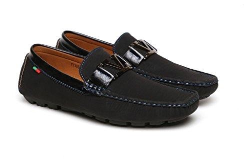 Zapatos Para Hombre Informales Conducción Diseñador Mocasines Mocasines Sin Cordones Moda Italia Estilo negro GB Negro/negro