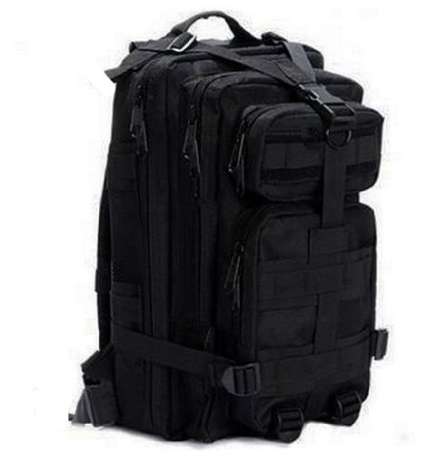Tactic Shield Stealth Black Compact Level 3 Full Featured Assault Pack Backpack 3 Day Bug Out Bag Combat Multi-functional Equipment Survival Assault Transport with Adjustable Slip Shoulder Length Straps Molle Modular Pals Shooting Range Military Army Patrol Paintball Hunting Camping Travel Vacation Heavy Duty Pack