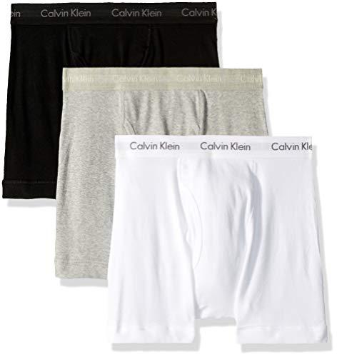 Calzoncillos Calderos de hombre Calvin Klein Calzoncillos de boxeo de algodón - Grandes - Blanco /Negro /Gris (paquete de 3)
