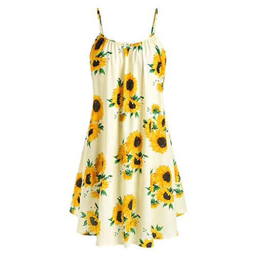 COOKI Women Dresses Sunflower Printed Sleeveless Strap Mini Dress Summer Beach Sun Dress Floral Tunic T-Shirt Dress Yellow