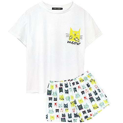FANCYINN Women's Short Sleeve Cute Cat Pajamas Set Two Piece Tee and Shorts Sleepwear S ()