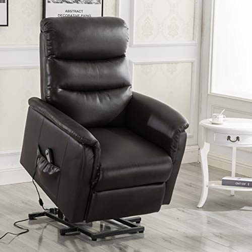 Esright Electric Recliner Power Lift Chair Wall Hugger PU Leather Remote Control (No Heat& Message)
