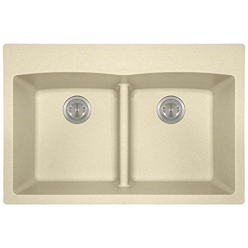 T812 Topmount Low-Divide Double Bowl Kitchen Sink, Beige, Sink Only