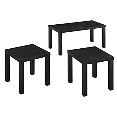 WE Furniture 3-Pack Wood Coffee Table Set, Black