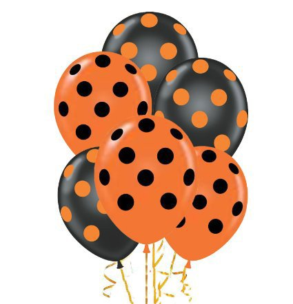 Polka Dot Balloons 11inch Premium Black and Orange with All-Over Print Orange and Black Dots - Halloween Dot Polka