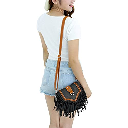 1e87f3743 lovely Womens Ladies Girls Retro Vintage Tassel Fringe Saddle Cross Body  Satchel Fashion Suede PU Leather
