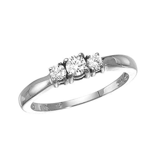 14k White Gold 0.25 Ct Three Stone Diamond (0.25 Ct Three Stone)