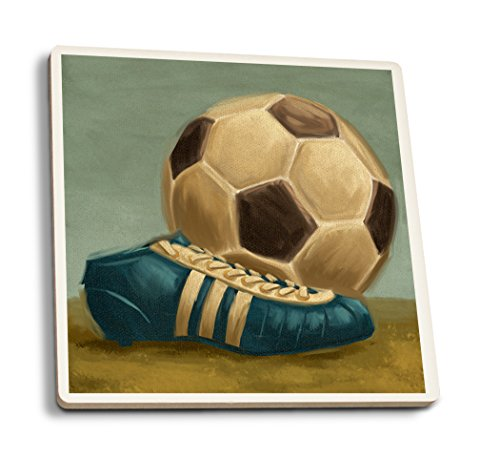 Lantern Press Soccer Ball and Cleat - Oil Painting (Set of 4 Ceramic Coasters - Cork-Backed, Absorbent)