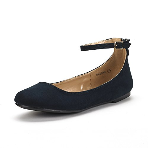 DREAM PAIRS Women's Sole-Nice Navy Suede Ankle Strap Walking Flats Shoes - 12 M US