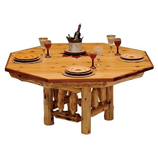 8-Sided Cedar Log Poker Table – Armor Finish Top – Optional Dining Table Cover in 3 finishes