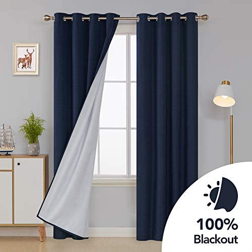 Deconovo Total Blackout Faux Linen Grommets Curtains with Back Coating Thermal Insulated Drapes Room Darkening Curtain for Bedroom 52W x 108L Inch Navy Blue 2 Panels