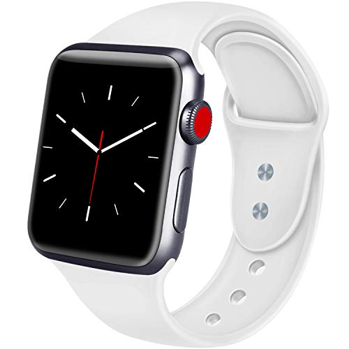 ATUP Sport Band Compatible with Apple Watch 38mm 40mm 42mm 44mm Women Men, Soft Silicone Replacement Bands for iWatch Apple Watch Series 4, Series 3, Series 2, Series 1 (White, 42mm/44mm-M/L)