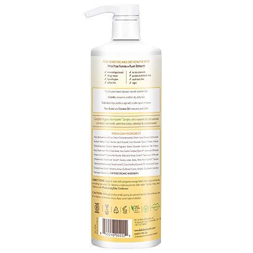 Babo Botanicals Moisturizing Baby 2-in-1 Shampoo & Wash with Oatmilk and Organic Calendula, Hypoallergenic, Vegan - 32 oz. (Family size),Yellow