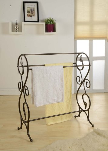 King's Brand 1410 Antique Style Pewter Finish Towel Rack Stand ()