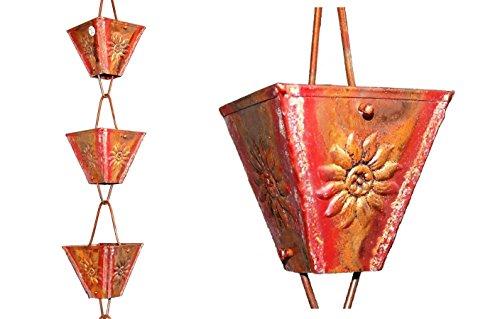 - U-nitt 8-1/2 feet Pure Copper Rain Chain: XL Square Cup Sunflower Emboss 8.5 ft Length #5515