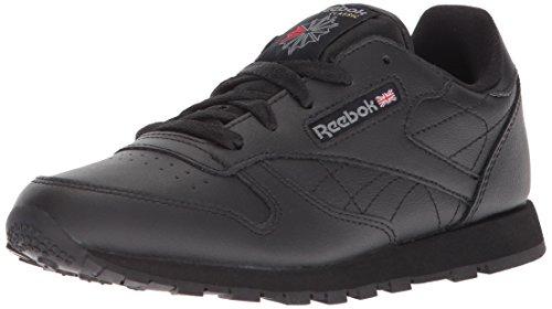 Reebok Little Kid Classic Leather Sneaker,Black,1 M US Little (Black Kid Leather Footwear)