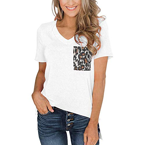 Sunhusing Women's Casual V-Neck Leopard Print Pocket Stitching Short-Sleeve T-Shirt Slim Versatile Top White