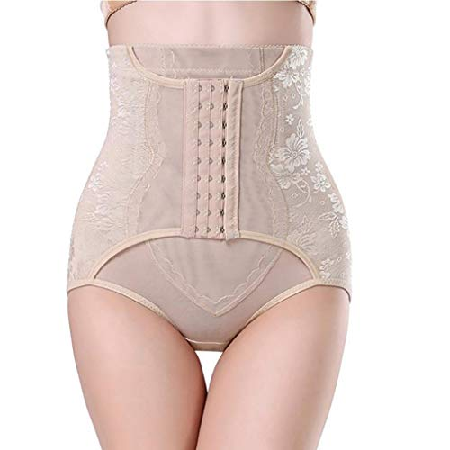 - Jonerytime Slimming Underwear Abdomen High Waist Cincher Hip Body Corset Control Pants (L, Khaki)