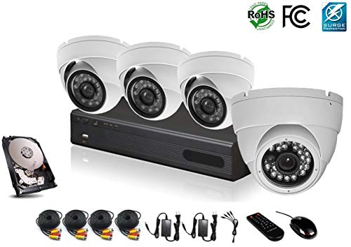 - HDView 12CH Hybrid: 8 Channel DVR and 4 Channel NVR, with 1TB Hard Drive, HD 4-in-1 (TVI/AHD/Analog/IP) DVR Kit, 4 x 2.4MP 1080P Infrared Security Cameras Package System, Surge-Protection