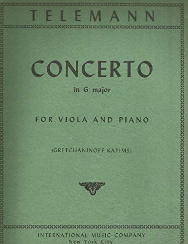 Telemann. Concerto in G major for Viola & Piano Gretchanoff-Katims International No.401 Score ONLY, NO VIOLA PART Sold AS IS