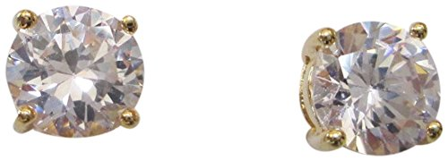 CZ by Kenneth Jay Lane 2CTTW Round CZ Gold Plated 4 Prong Post Stud Earrings