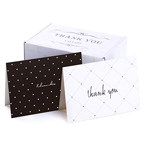 50 Thank You Cards Bulk - Thank You Notes with 2 Designs - Blank Note Cards with Self Seal Envelopes - Perfect for Business, Wedding, Gift Cards, Graduation, Baby Shower, Funeral