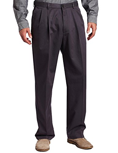 Haggar Mens Work to Weekend Pleated Front Khaki, Graphite, 29-32 - Weekend Cotton Pleated Pants