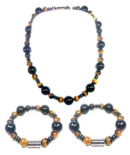 (AURAS BY OSIRIS - Tigers Eye Necklace and Bracelet Set - Onyx Hematite - Incredibly Strong Magnetic Clasp - Confidence - Protection - Bead Bracelet For Men and Women )
