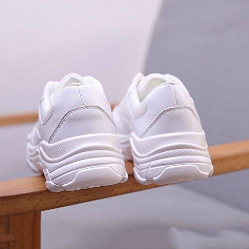 Deportivas Para Cordones Blanco De Shi Con Mujer Verano Blancas 38 Tamaño color Blanco Zapatillas Transpirables HSWq5
