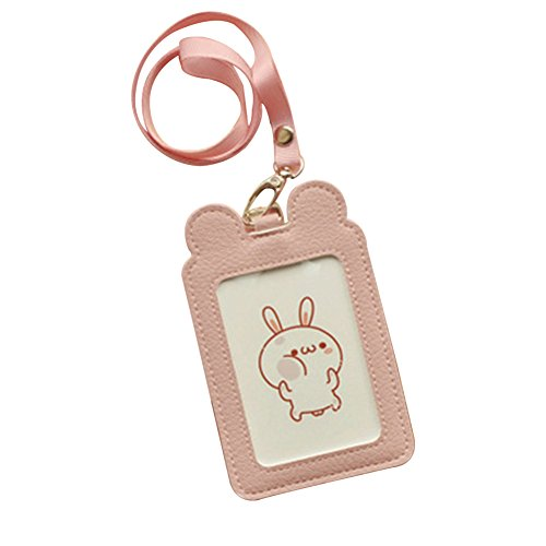 Cute Small Leather Pink ID Card Badge Holder Neck Pouch Bag For School Students Kids Teens Girls Work Office Badge Bag