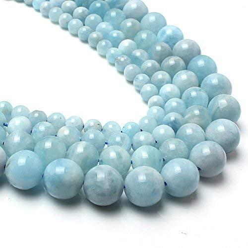 Love Beads Genuine Aquamarina Beads 8 mm Round Loose Gemstone ()