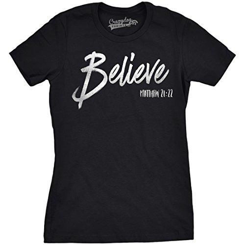 Believe Dog T-shirt - Crazy Dog T-Shirts Womens Believe Bible Verse Script Silver Shimmer Application Cool Inspirational T Shirt (Black) S