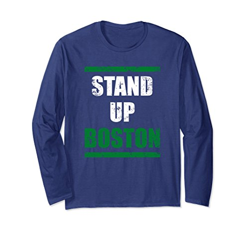 Unisex Stand Up Boston Sports Patriotic Long Sleeve t-shirt Small Navy Cheers Boston T-shirt