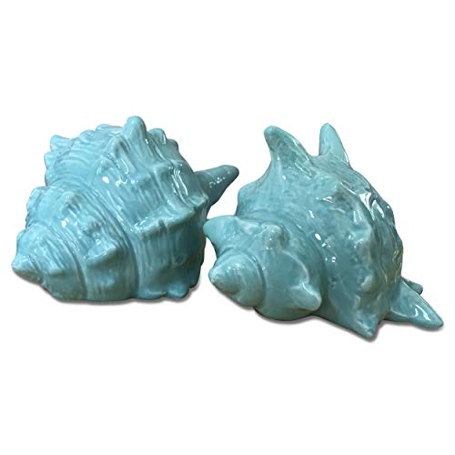 WHW Whole House Worlds Key West Shells, Set of 2, Hand Crafted, Tropical Turquoise Blue Glaze, Each Shell is 5½ L x 3½ W x 3¼ H Inches, Coastal Home Collection -