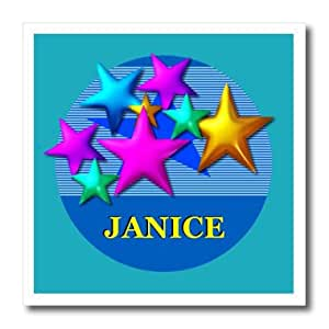 ht_52968_1 SmudgeArt Female Child Name Designs - Vibrant colored stars on a blue background personalized with the name JANICE - Iron on Heat Transfers - 8x8 Iron on Heat Transfer for White Material