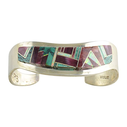 (Edward Becenti Sterling Silver Turquoise Spiny Oyster Inlay Cuff Bracelet Navajo)