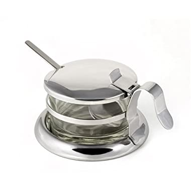 StainlessLUX 73441 Brilliant Stainless Steel Salt Server / Cheese Bowl / Condiment Serving Bowl & Spoon Set - Quality Serveware for Your Home
