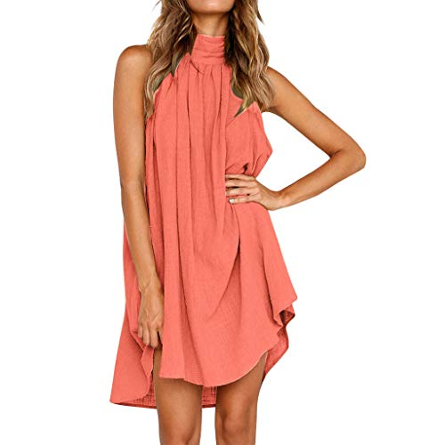 TOTOD Dress for Women Fashion Soild Print Sleeveless Party Brief O Neck Irregular Beach Sundress Pink