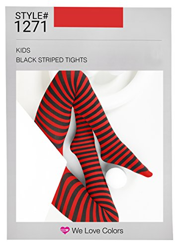 Kid's Black Striped Tights in 20 Color Combos and 4 -