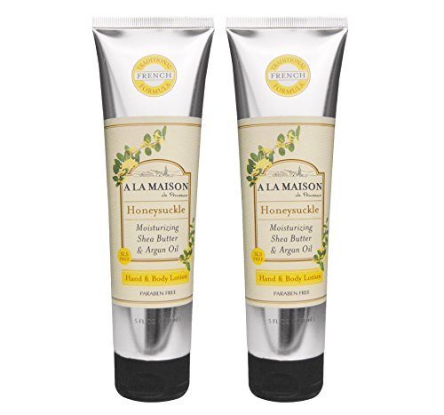 A La Maison de Provence Honeysuckle Hand and Body Lotion (Pack of 2) With Avocado Oil, Shea Butter and Vitamin E, 5 fl oz Each ()
