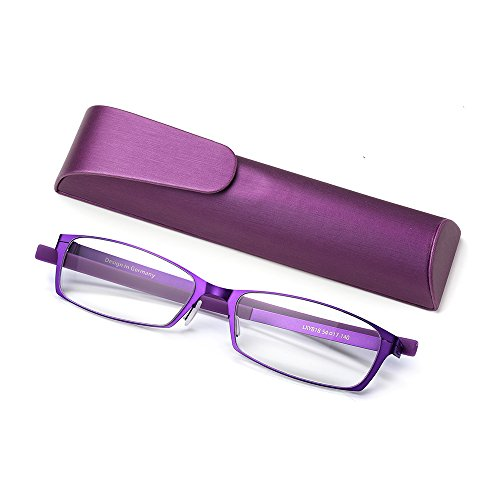 Anti Blue Light Straight Thin Stamped Metal Frame Reading Glasses Readers +1.5 (purple, - Metal Frame Purple Glasses