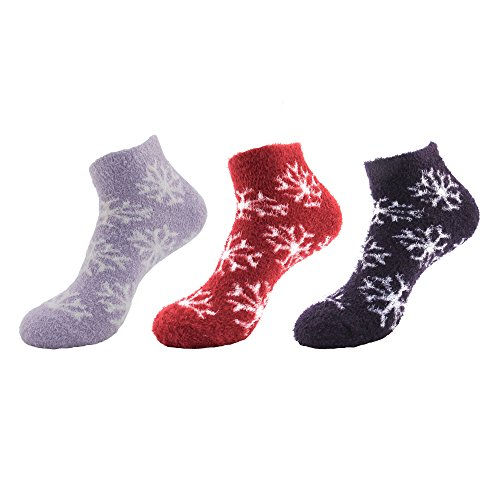 Women's Feather Yarn Super Soft Warm Fuzzy Comfy Home Anklet Ankle Socks - 3 Pairs, Assortment ()